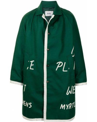 Klasyczny zielony długi płaszcz z długimi rękawami Bode