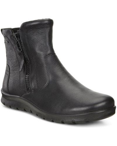 Полусапожки черные без каблука Ecco