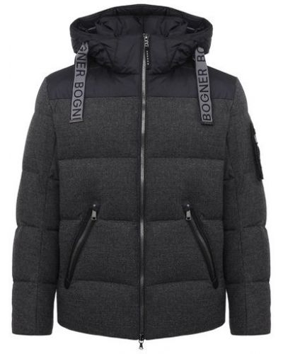 Утепленная серая куртка с воротником Bogner