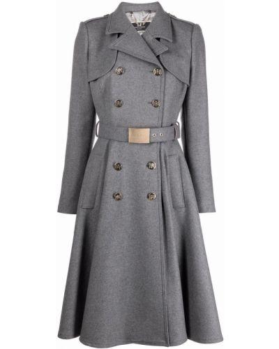 Серое длинное пальто Elisabetta Franchi