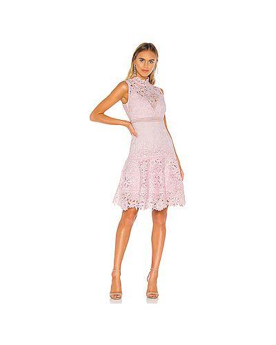 Платье мини розовое с кружевными рукавами Bardot