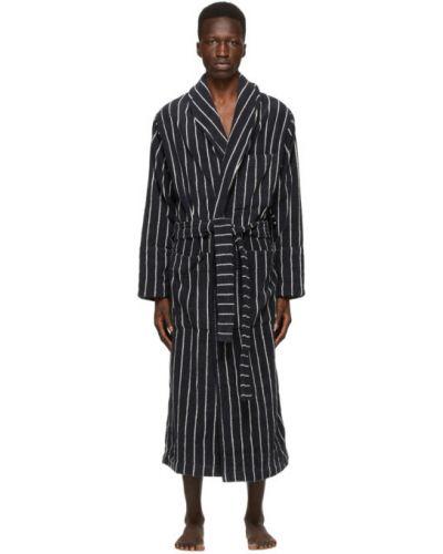 Czarny szlafrok bawełniany w paski Tekla