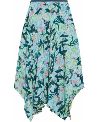 Асимметричная синяя юбка из вискозы Diane Von Furstenberg