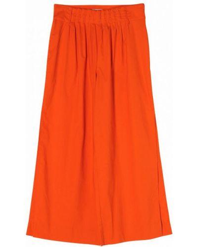 Оранжевые расклешенные хлопковые укороченные брюки Stefanel
