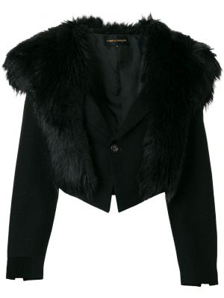 Черная короткая куртка из искусственного меха с воротником Comme Des Garçons Pre-owned