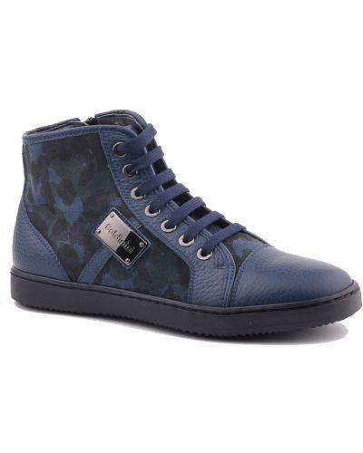 Кеды синие кожаный Baldinini