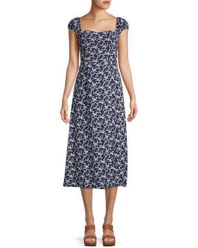 С рукавами синее платье в цветочный принт French Connection