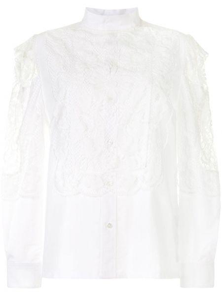 Ажурная блузка с длинным рукавом с оборками с воротником на пуговицах Toga