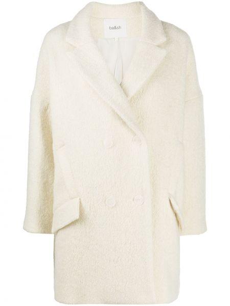 Шерстяное белое длинное пальто двубортное Ba&sh