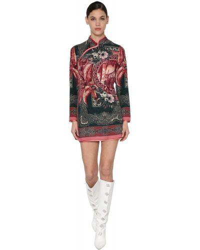 Ażurowa sukienka mini z długimi rękawami z jedwabiu F.r.s For Restless Sleepers