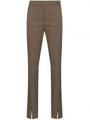 Brązowe spodnie z wysokim stanem wełniane Tibi