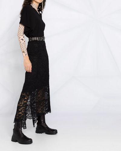 С завышенной талией черная юбка миди с разрезом Paco Rabanne