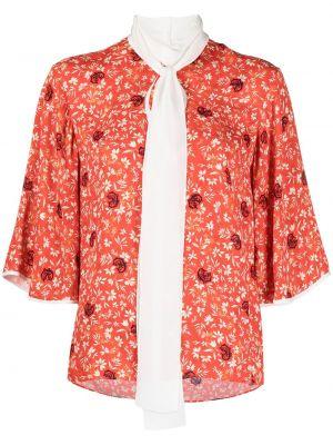 Оранжевая шелковая блузка с короткими рукавами Chloé