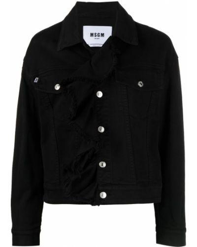 С рукавами черная джинсовая куртка с воротником Msgm