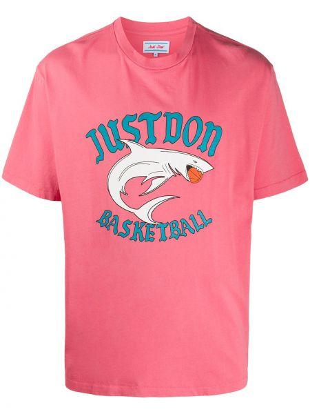 Różowy t-shirt bawełniany krótki rękaw Just Don
