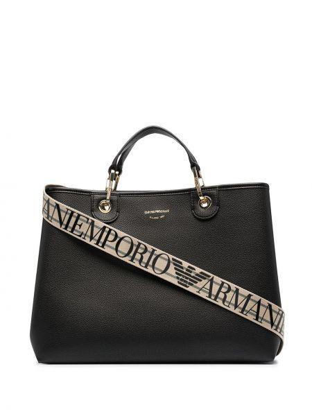 Золотистая черная сумка-тоут Emporio Armani