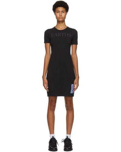 С рукавами трикотажное черное платье-рубашка Mcq