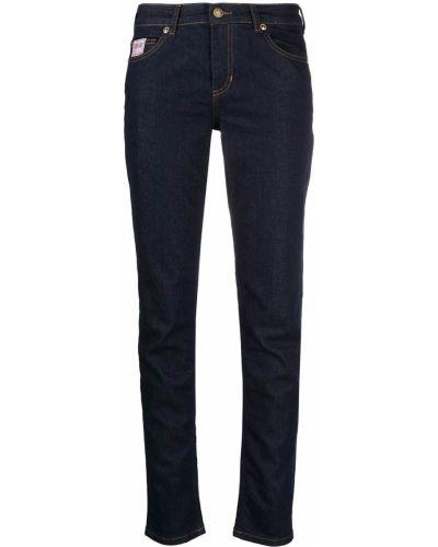 Синие зауженные джинсы-скинни с вышивкой Versace Jeans Couture