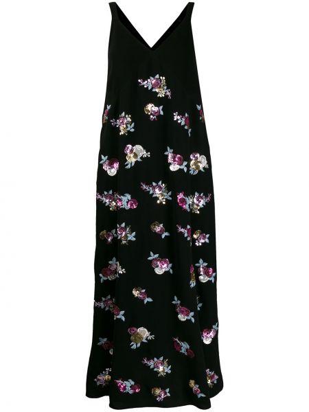 Черное прямое платье макси с V-образным вырезом на молнии Mulberry