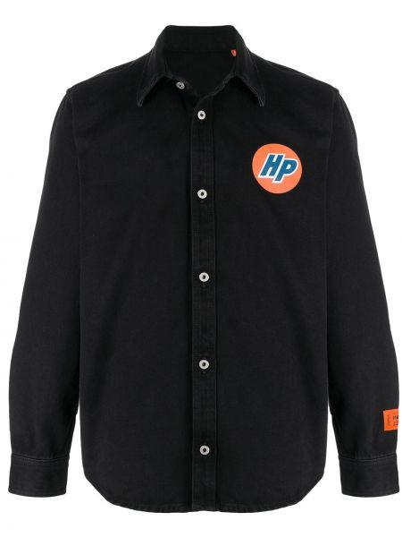 Czarna klasyczna koszula bawełniana z długimi rękawami Heron Preston