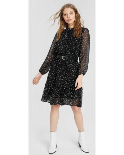 Приталенное шифоновое черное платье Ostin
