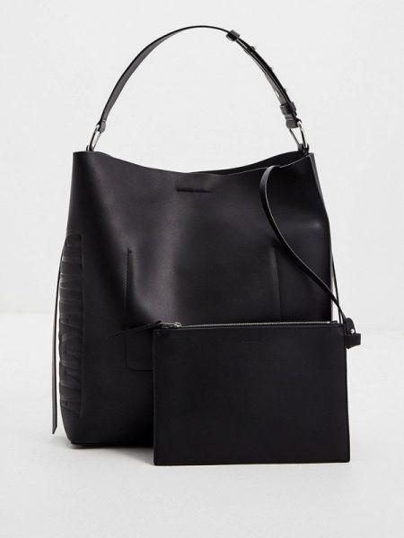Кожаная сумка с ручками черная Allsaints