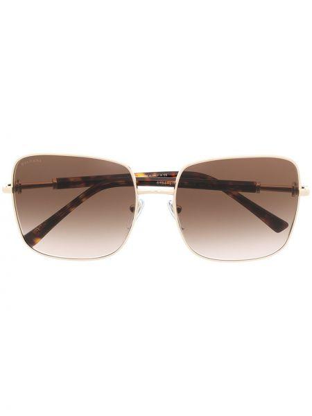 Коричневые солнцезащитные очки металлические Bvlgari