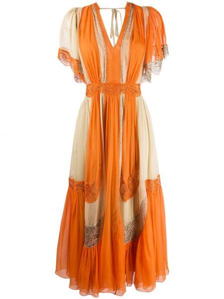 Платье мини с открытой спиной - оранжевое Alberta Ferretti