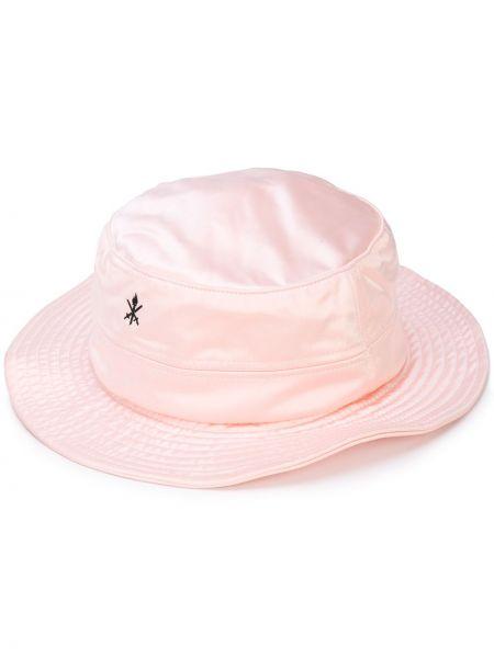 Satynowy różowy kapelusz z haftem Opening Ceremony