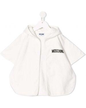 Biały ponczo z kapturem bawełniany Moschino Kids