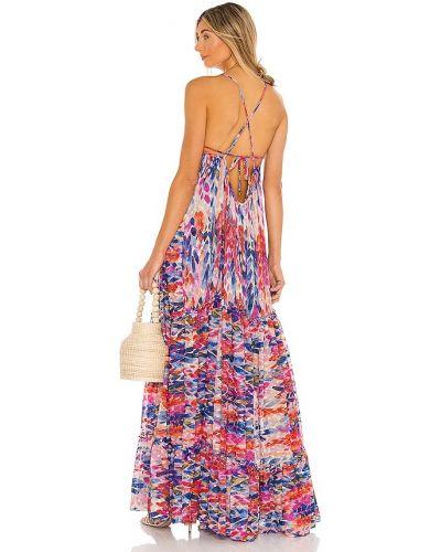 Шифоновое розовое платье с перьями Misa Los Angeles