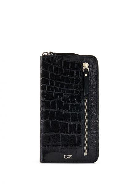Черный кошелек на молнии с карманами Giuseppe Zanotti