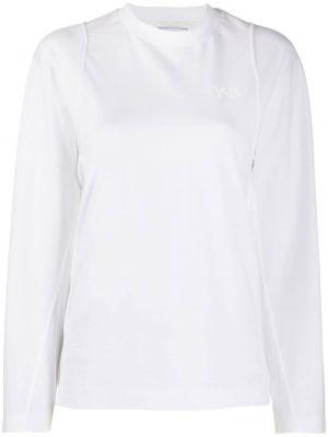 Хлопковая белая футболка с длинными рукавами Y-3