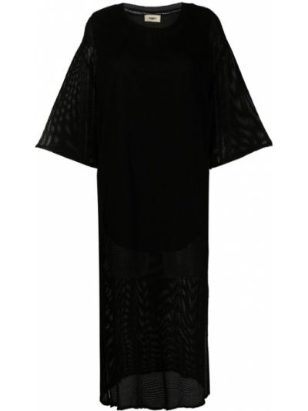 Хлопковое черное платье миди с вырезом Barena