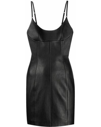 Кожаное черное платье мини с вырезом Alexander Wang