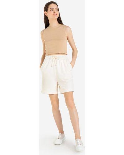 Свободные белые джинсовые шорты из футера Gloria Jeans