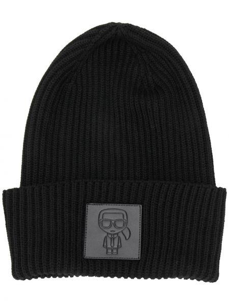 Кашемировая черная шапка бини с нашивками с отворотом Karl Lagerfeld