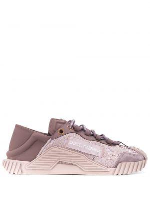 Кожаные ажурные фиолетовые кроссовки на шнуровке Dolce & Gabbana