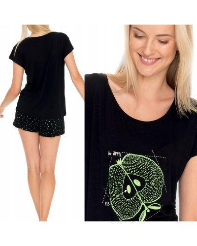 Czarna piżama bawełniana krótki rękaw Key
