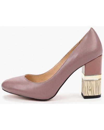 Туфли на каблуке кожаные розовый Inario