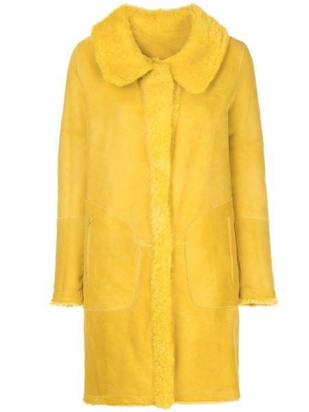 Желтое однобортное кожаное пальто с воротником на молнии Sylvie Schimmel