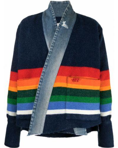 Niebieskie jeansy w paski zapinane na guziki Greg Lauren