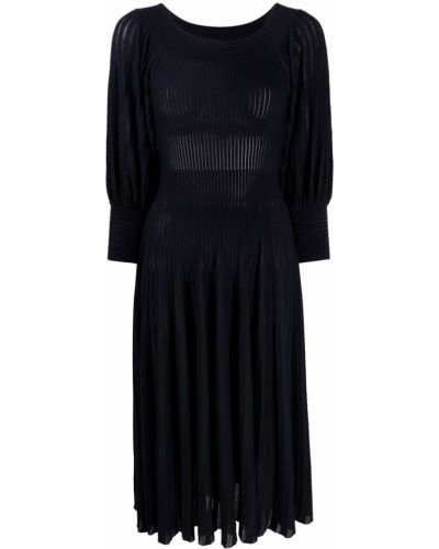 Prążkowana niebieska sukienka midi z wiskozy Antonino Valenti