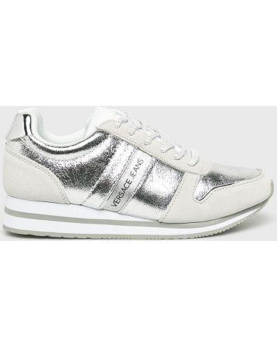 Джинсы на шнуровке серебряного цвета Versace Jeans