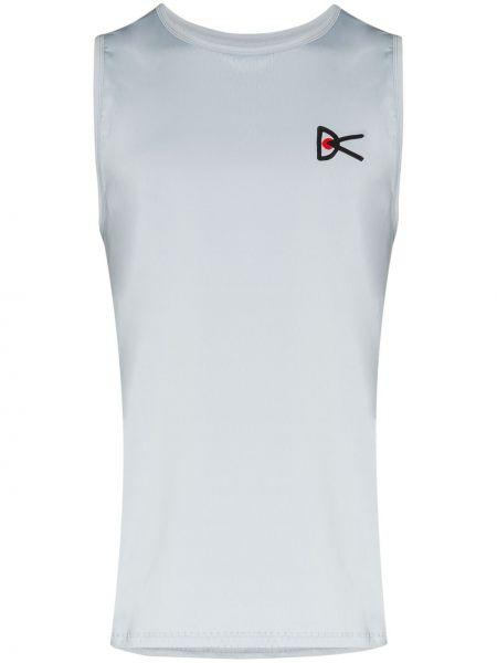 Niebieski top sportowy bez rękawów z printem District Vision
