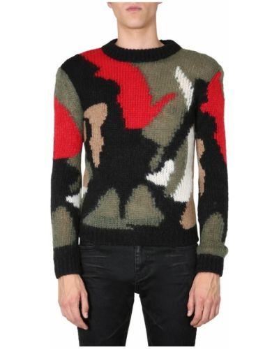Prążkowany długi sweter wełniany z długimi rękawami Saint Laurent