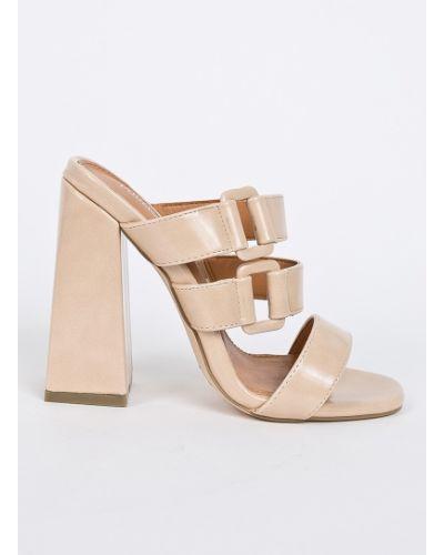 Бежевые сандалии на каблуке Public Desire