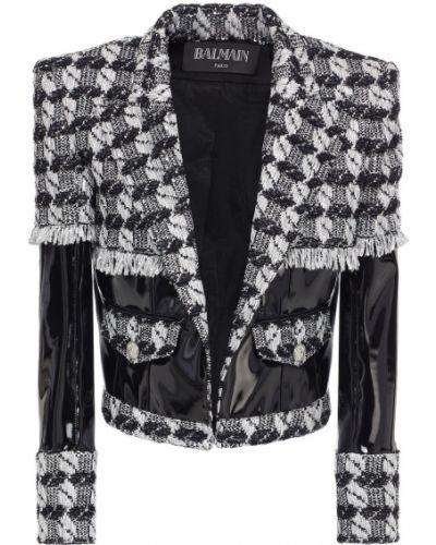 Черная куртка твидовая Balmain