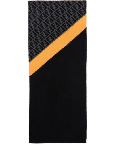 Черный шерстяной шарф прямоугольный Fendi