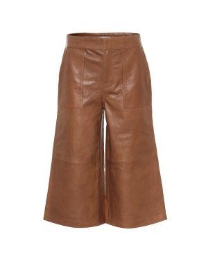 Skórzany brązowy spodnie culotte Frame